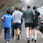 members jogging in park
